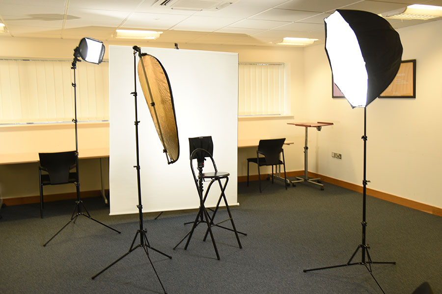 Portable Headshot Studio setup in office