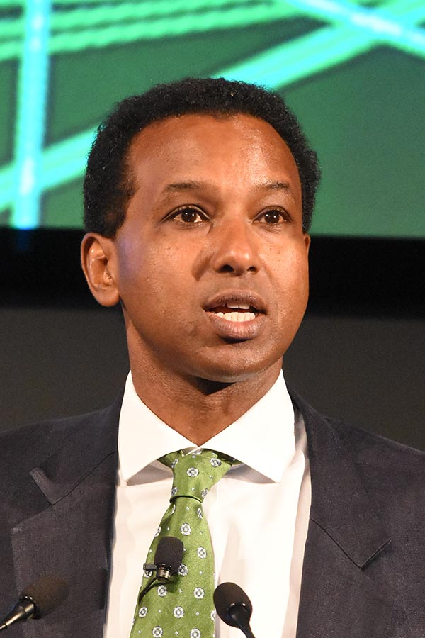 Broadcaster Rageh Omaar speaking at a conference
