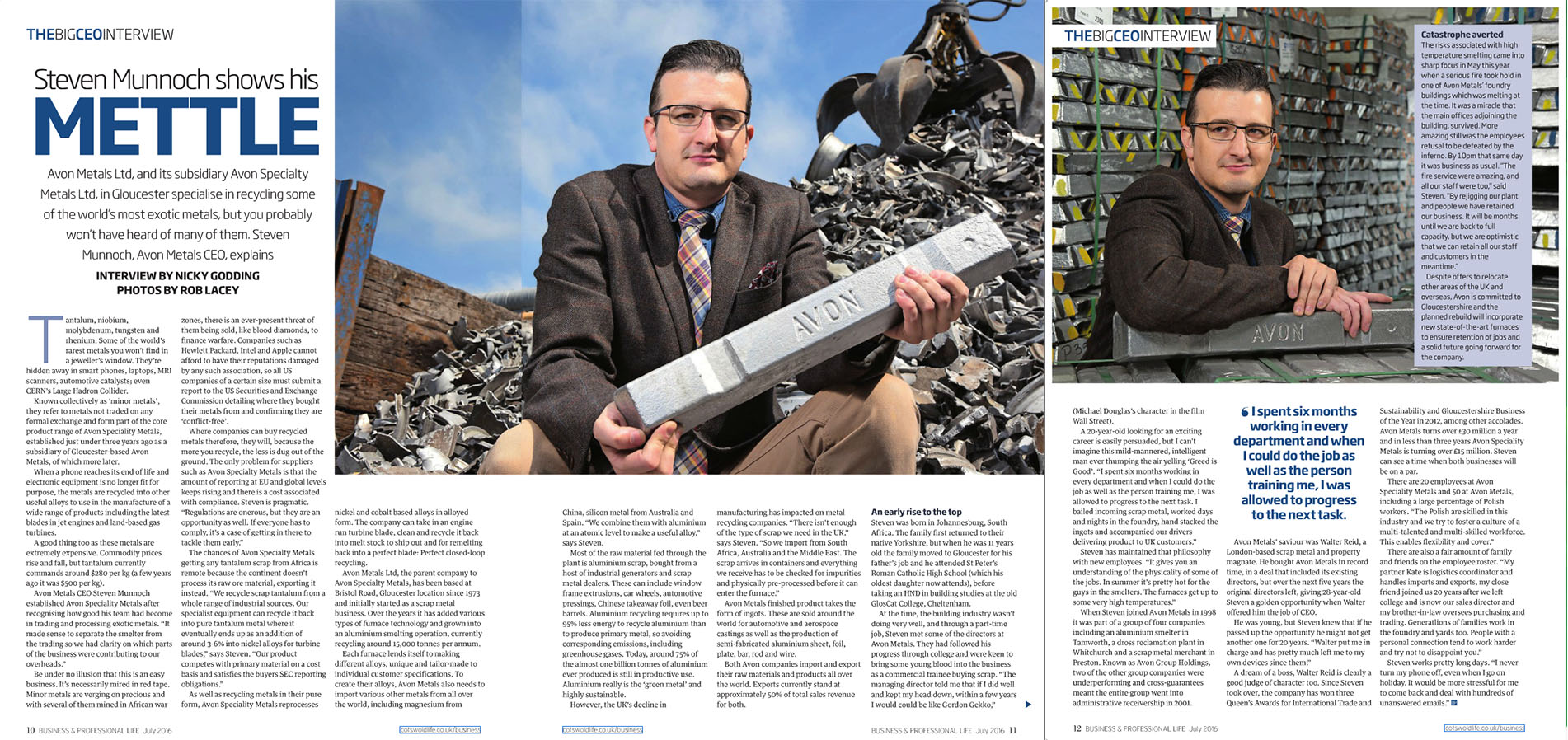 cutting from Business & Professional Magazine showing Avon Metals CEO Steven Munnock