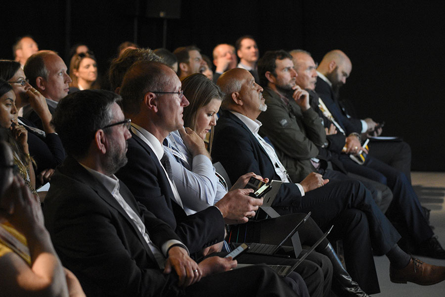 Conference audience facing right