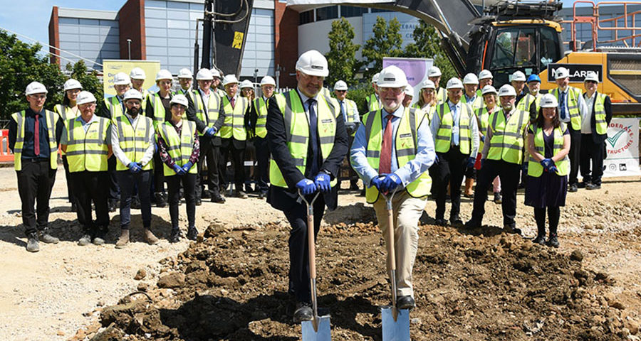 Cutting the first sod at McLaren Construction - Banbury