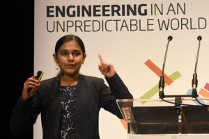 young engineer speaking at conference